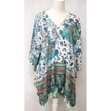 LOVELY Blue/White KAFTAN Tassel Hem Top ...... Size 26,28,30,32     #J0718