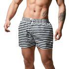 DESMIIT Men's Striped Quick-Dry Fashion Travel Shorts Board shorts Black White