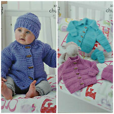 Baby Jacket Mittens & Hat in King Cole Chunky Knitting Pattern 3707