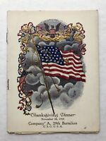 Vintage 1918 Thanksgiving Dinner Menu Company A, 29th Battalion- Patriotic Cover