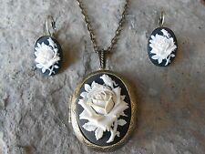 (ROSE CAMEO LOCKET and FRENCH EARRINGS SET) - WHITE - BLACK - BRONZE, NICE