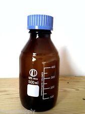 Lab Glass amber culture media bottle w cap autoclavable reagent 100 ml new