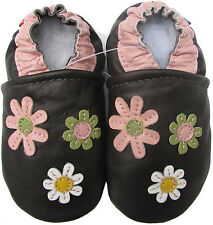 carozoo 3 flowers dark brown 6-12m soft sole leather baby girl shoes slipper
