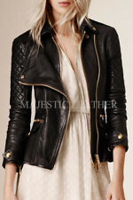 Black Women's Slim Fit Biker Diamond Quilted Real Leather Jacket-BNWT