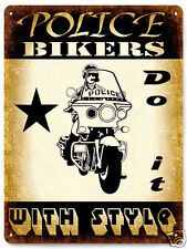 POLICE METAL SIGN MOTORCYCLE bike vintage style OFFICER COP LAW mancave decor197