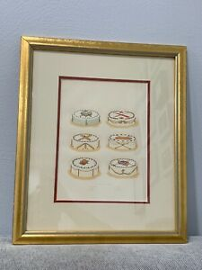 Antique Culinary Color Engraving Print Picnic Cakes Sports Theme