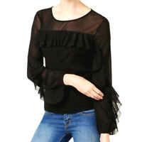 INC International Concepts NEW Black Ruffled Illusion Mesh Top Stretch LARGE