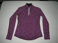 IDEOLOGY WOMEN'S PURPLE BLACK ATHLETIC LONG SLEEVE 1/3 ZIP UP SHIRT SIZE S