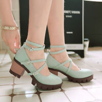 Women Heart Buckle Platform Chunky Heel Mary Jane Round Toe Ankle Strap Shoes