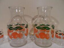 2 Hazel Atlas  Vintage Orange Juice Glass Carafe Decanter with 4 glasses