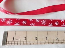 "3 metres x 20mm (¾"") Satin CHRISTMAS Gift/Wrapping Ribbon : RED/WHITE SNOWFLAKES"