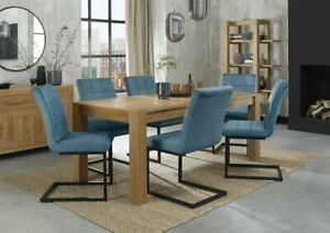 Blake Light Oak 6-10 Seater Dining Table & 6 Lewis Petrol Blue Cantilever Chairs