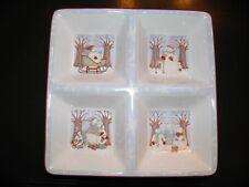 Sakura Debbie Mumm Winter Wonders Snowman 4 Section Platter Serving Dish Tray