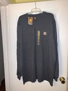 NWT Carhartt Mens Henley Shirt Gray Long Sleeve Original Fit Pocket Tall XL