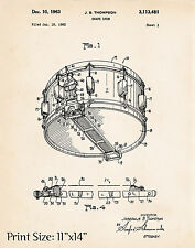 Rogers Dynasonic Snare Drum Thompson Gift Ideas For Drummers Poster Patent Print