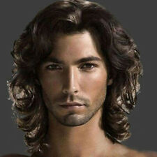 Men Wigs Dark Brown Long Curly Waves for Man Heat Resistant Synthetic Hair New