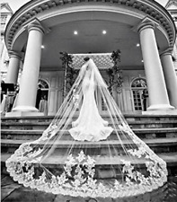 White Ivory Wedding Veil With Comb Cathedral Length Long Lace Bridal Accessories