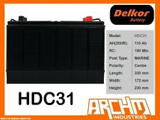 DELKOR BATTERY DEEP CYCLE - HDC31 GOLF CART 110 AH SAE LHP MAINTENANCE FREE