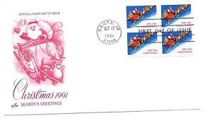 2585a (2585) Christmas 1991, Santa, sleigh & Reindeer, ArtCraft, pane of 4 FDC