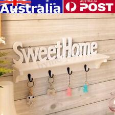 AU Clothes Hook Rack Wall Mount Carved Shelf Key Storage Hanger Holder Home Deco