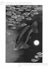 MOONLIGHT MIRROR Carp Fishing Pond Lillies Charcoal Drawing Art Print