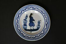 Charming Early Blue Quimper Plate, Black HB Mark on Front, Probably 1889-1904