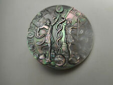 "Carved Fairies Caduceus Snakes Gemini Pearl MOP Button 1-1/4"" Astrology"