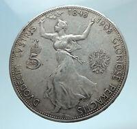 1908 AUSTRIA w King FRANZ JOSEPH I Austrian Silver Antique 5 Corona Coin i78252