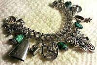 """Vintage Western Sterling Silver Charm Bracelet & 15 Charms,83.4gr,7.5"""",Loaded"""