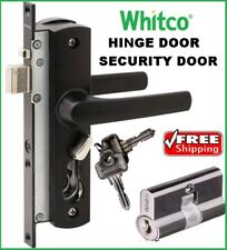 Whitco Tasman MK2 Security Screen Door Lock Black with Cylinder Bareel W892117