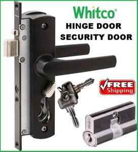 Whitco Tasman MK2 Security Screen Door Lock Black with Cylinder Barrel W892117