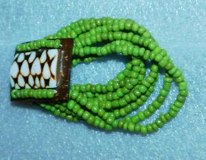 Stretchy Bracelet Green Bead Brown White Heart Fashion Jewelry Multi Strand