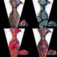 New Paisley Pattern Red Gold Green Silk Tie Set Men's Necktie Pocket Square A075