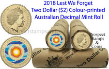 2018 'Lest We Forget' Australian Two dollar ($2) Coloured Coin roll - 25 coins