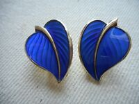 Vintage Sterling GF Norway Leaf Blue Guilloche Clip On Earrings 361411