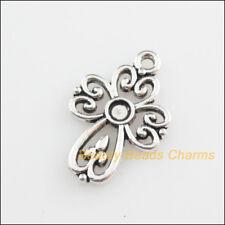 15 New Pendants Heart Cross Picture Frame Tibetan Silver Tone Charms 14.5x21.5mm