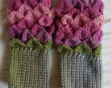 hand crocheted pure wool multi coloured dragon scale fingerless gloves
