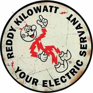 Reddy Kilowatt Your Electric Servant Round Metal Sign