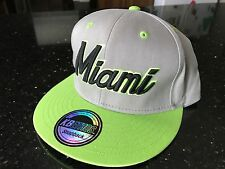 NWOT KB Ethos Miami Hurricanes Snapback Hat Cap Lime Grey Black