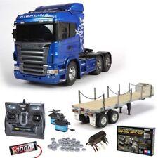Tamiya Scania R620 6x4 Highline Blue + MFC-03, Flachbett, Kugellager - 56327SET3