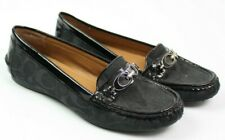 Coach Womens Size 8 Fortunata Black Signature Loafers Patent Leather Logo Design