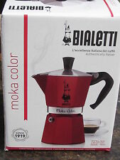 Bialetti Moka COLOR RED Express 06905 Stovetop Espresso Maker Pot Coffee  6 CUP