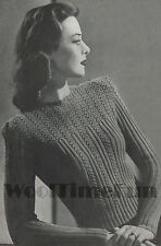 Vintage Knitting Pattern Ladies 1940s Patterned Rib Jumper. Long & Short Sleeves