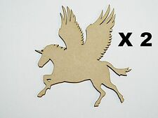 Pack of 2 Pegasus/Unicorn 80mm MDF blanks embelishment for your project 04