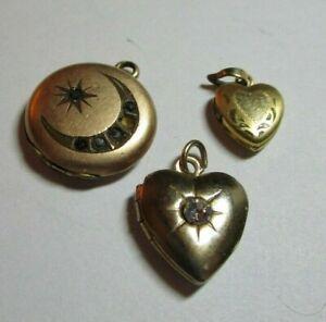 "Vintage Victorian Era Tiny Lockets Lot of 3 Smallest 7/16"" Hearts Moon Star"