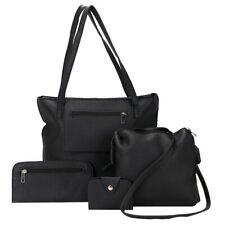 Taschen Set 4 in 1 Shopperbag Clutch Kosmetiktasche Kartenetui schwarz