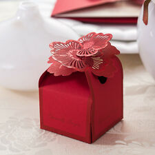 Wholesale Red Floral Wedding Favor Candy Boxes Paper Laser Cut Gift Box 100pcs