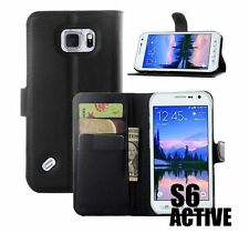 Samsung Galaxy S6 ACTIVE - BLACK LEATHER CARD ID WALLET POUCH HOLDER CASE COVER