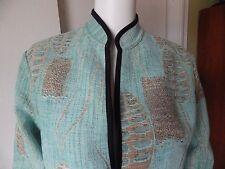 Stunning Khangura Reversible Jacket Aqua Blue & Beige Tapestry Size SMALL