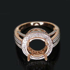Jewelry Sets Round 9.5mm Solid 14k Rose Gold Natural Diamond Seni-mount Ring